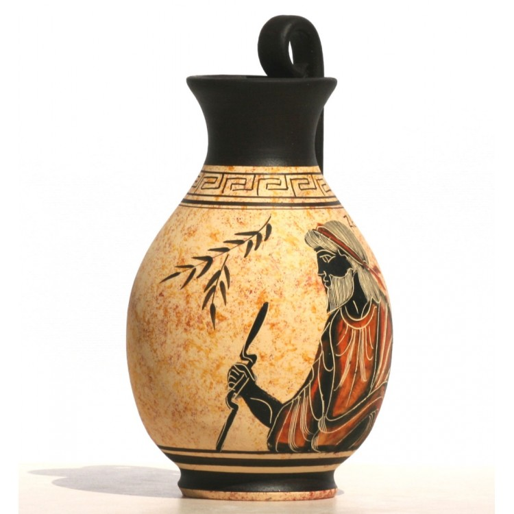 Greek Black Figure Ceramic Vase Pot Pottery Painting King God Zeus 6 3΄΄