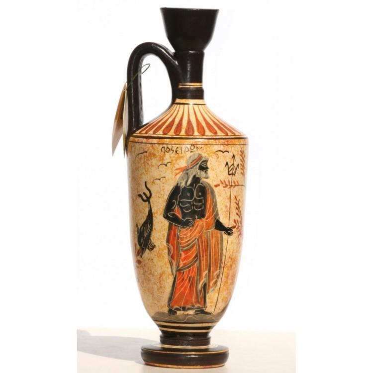 Greek Ceramic Vase Pot Vessel lekythos Goddess Athena God Poseidon 10.2in