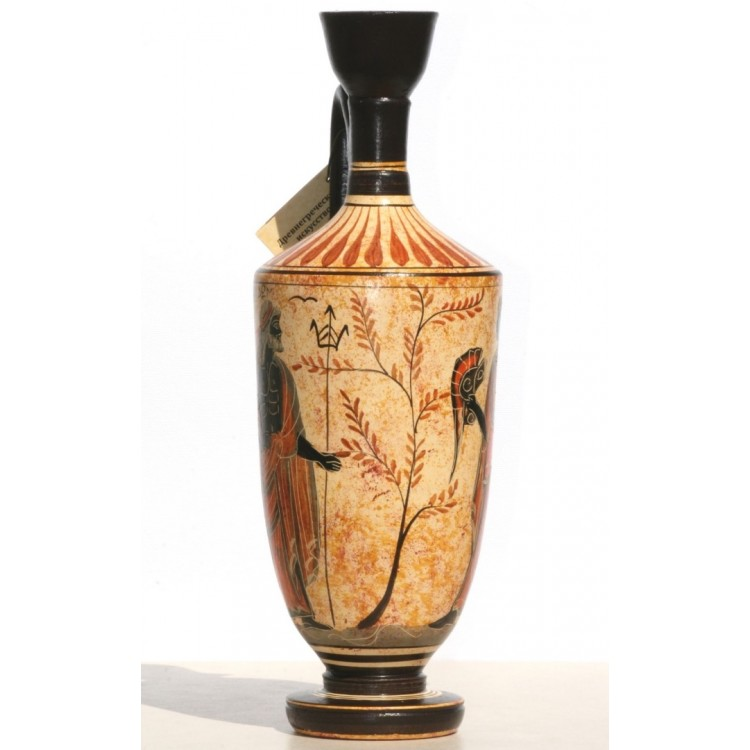 Greek Ceramic Vase Pot Vessel Lekythos Goddess Athena God Poseidon 10 2΄΄