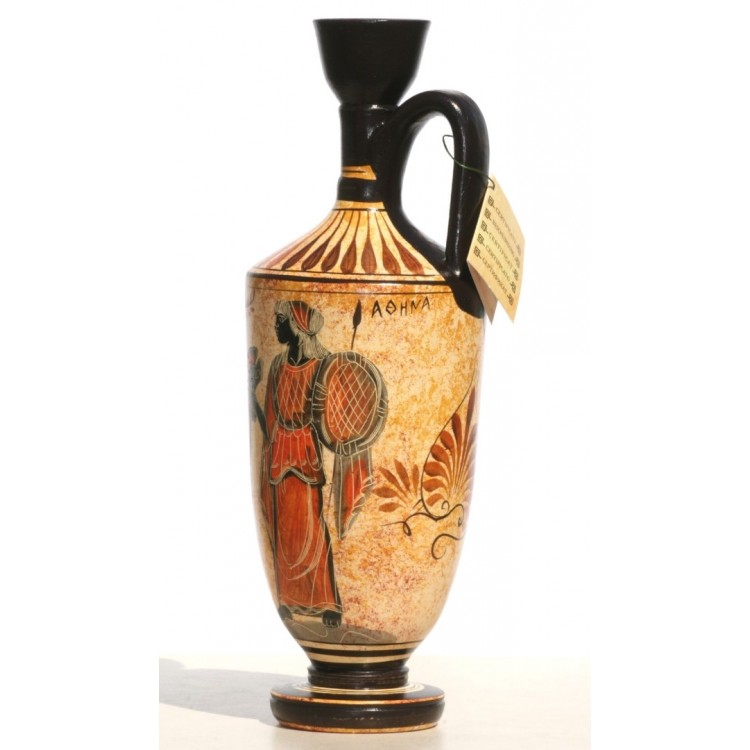 Greek Ceramic Vase Pot Vessel Lekythos Goddess Athena God