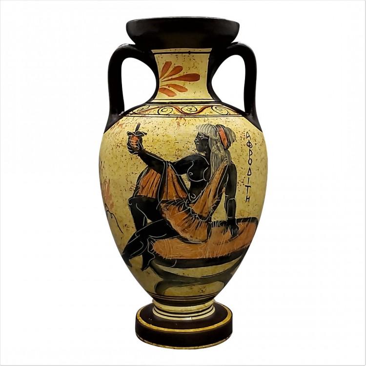 Greek Ceramic AMPHORA Jar Vase Pot Vessel Painting Goddess Aphrodite 8.66in