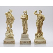 3 Greek Gods Dionysus (Bacchus) Hermes Apollo Cast Alabaster Statue Sculpture Figure