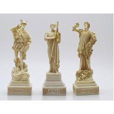 3 Greek Gods Dionysus (Bacchus) Hermes Apollo Cast Alabaster Statue Sculpture Figure