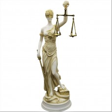 Themis Greek Roman Blind Justice Law Goddess Statue Sculpture Hand Painted 13.8 inches