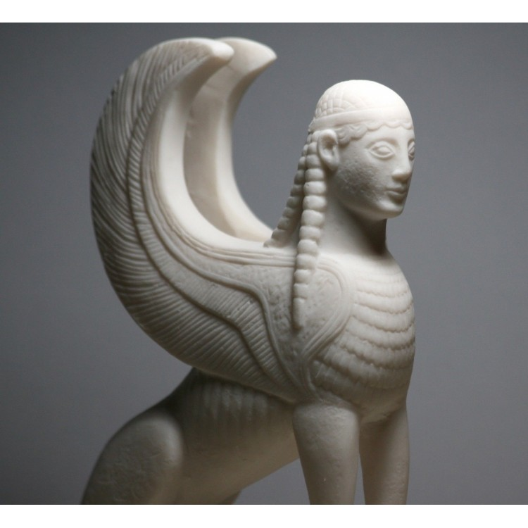 Sphinx Greek Mythical Woman Headed Lion Statue Cast