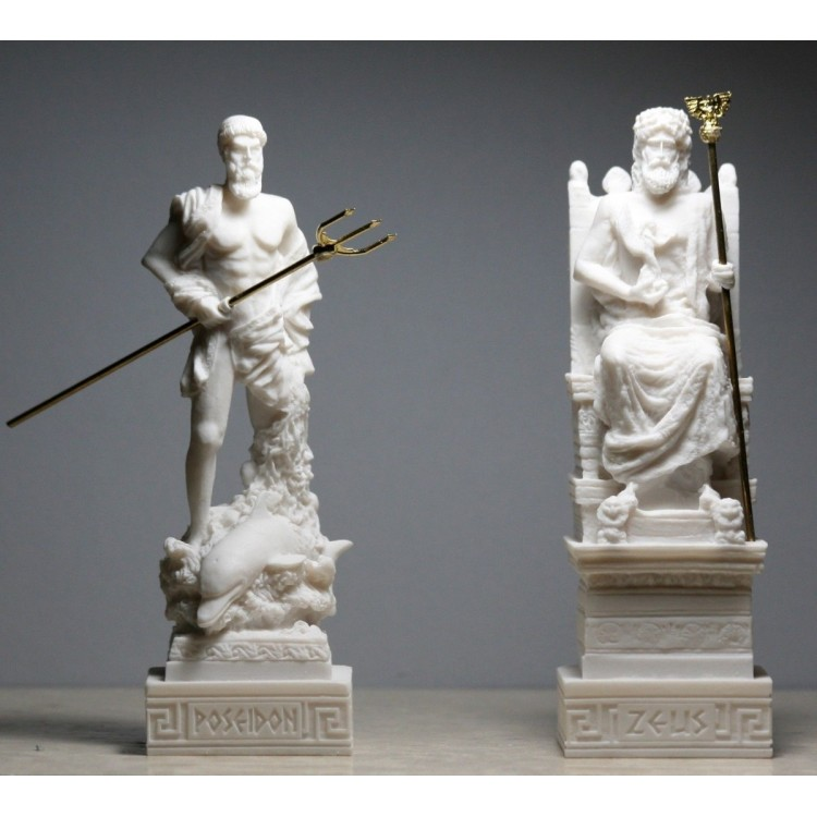 Set King Zeus & Poseidon Greek Roman God Statue Sculpture Figure Cast Alabaster