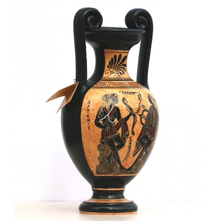 Greek Ceramic Amphora Jar Vase Pot Painting Goddess Artemis God Apollo 13 4in
