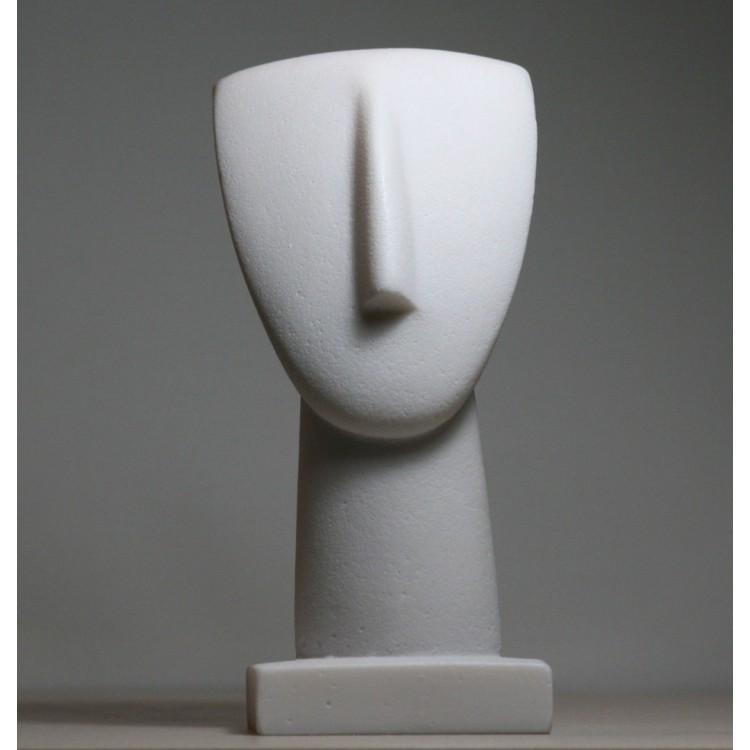 Head of Cycladic Figurine Idol Greek Modern Art Cast Marble Statue Sculpture Museum 6.9 inches