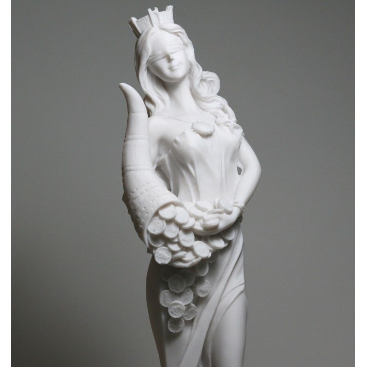Goddess Of Wealth Tyche Lady Luck Fortuna Statue Cast Marble