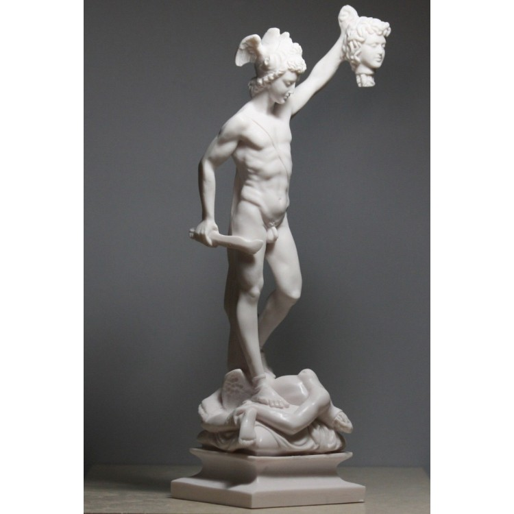 Perseus with the Head of Gorgon Medusa Cast Marble Statue Sculpture 13.4 inches