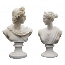 Set 2 Busts God Apollo & Goddess Artemis Diana Greek Cast Marble Sculpture