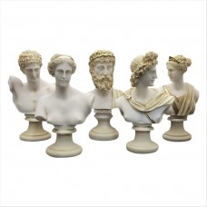 Set 5 Bust Head God Zeus Artemis Aphrodite Hermes Apollo Greek Roman Statue