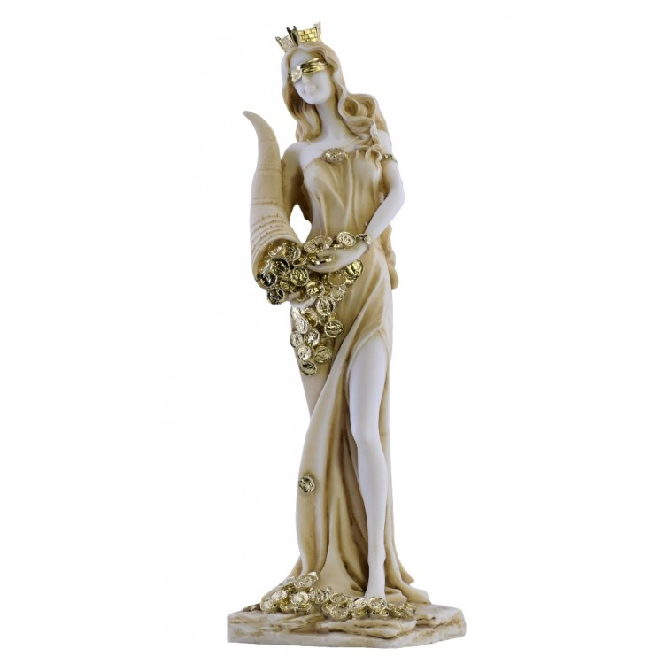 Goddess of Wealth Tyche Lady Luck Fortuna Statue Sculpture Figure 11.8in