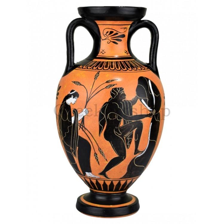 Amphora Myth of Sisyphus Persephone and god Hermes Vase Ancient Greek Pottery Ceramic