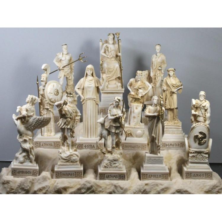 SET 12 Twelve Greek Olympian Gods Statue Sculpture Pantheon Figure Handmade Statue Sculpture