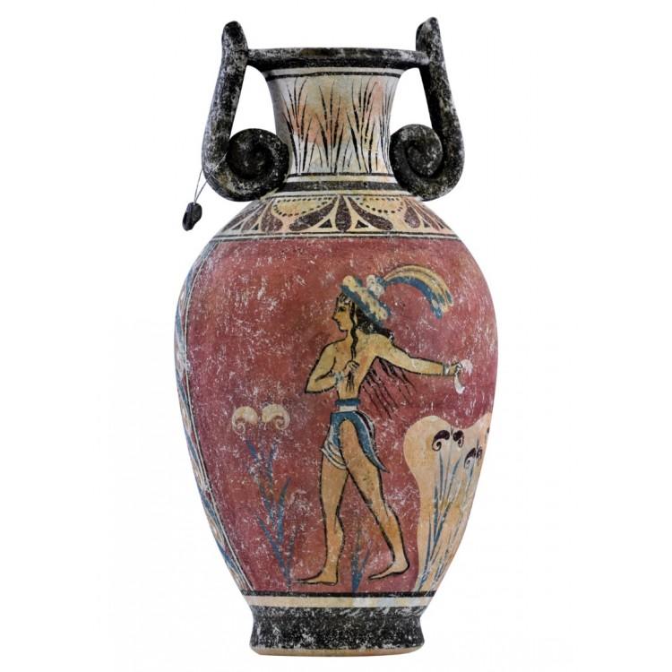 Prince of Lilies Minoan fresco painting Knossos Vase Ancient Greek Pottery Ceram