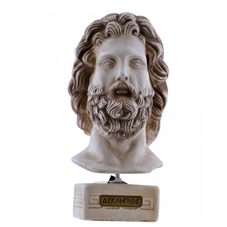 Asclepius Greek God of medicine Bust Head Sculpture Cast Stone