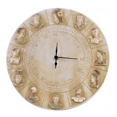 Wall clock twelve Greek Roman Olympian Gods Sculpture Cast Stone