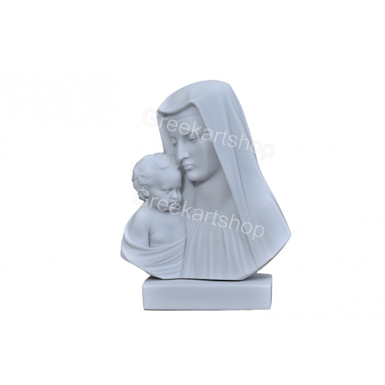 Virgin Mary Mother and Jesus Christ  Madonna  bust Greek Statue Sculpture Cast Marble